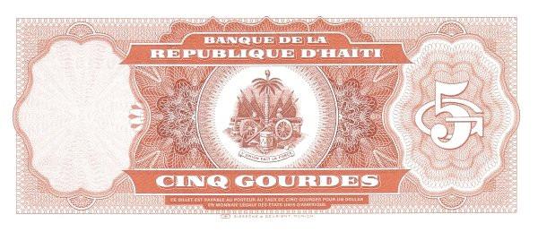 Haiti 5 Gourdes (1986-1988 Banque de la République d'Haïti)