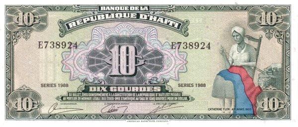 Haiti 10 Gourdes (1986-1988 Banque de la République d'Haïti)