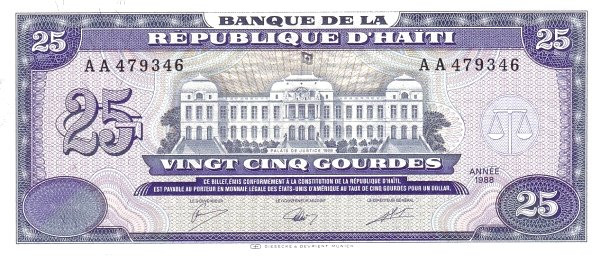 Haiti 25 Gourdes (1986-1988 Banque de la République d'Haïti)