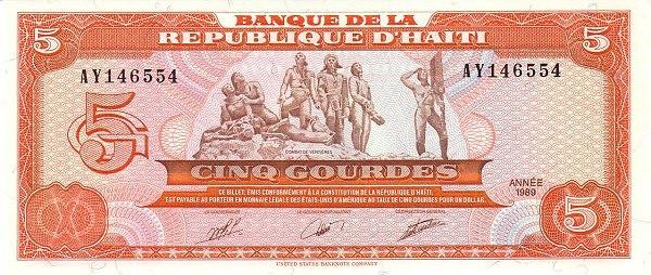 Haiti 5 Gourdes (1989-1999 Banque de la République d'Haïti)