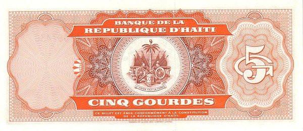 Haiti 5 Gourdes (1992-1994 Banque de la République d'Haïti)