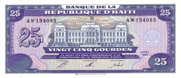 Haiti 25 Gourdes (1992-1994 Banque de la République d'Haïti)