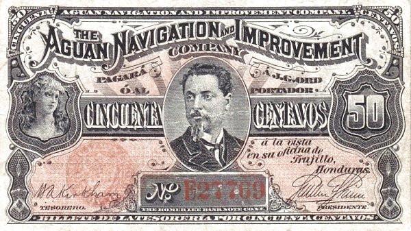 Honduras 50 Centavos (1886 Aguan Navigation and Improvement Company)