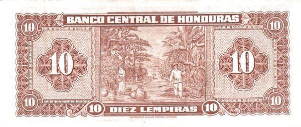 Honduras 10 Lempiras (1950-1973 Banco Central de Honduras)
