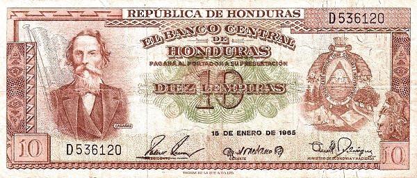 Honduras 10 Lempiras (1953-1972 Banco Central de Honduras)