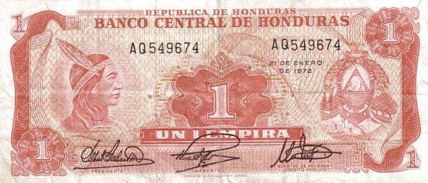 Honduras 1 Lempira (1968-1975 Banco Central de Honduras)