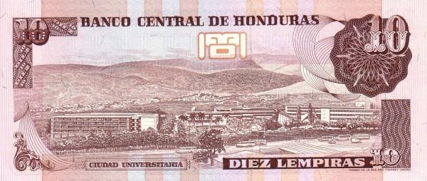 Honduras 10 Lempiras (1989 Banco Central de Honduras)