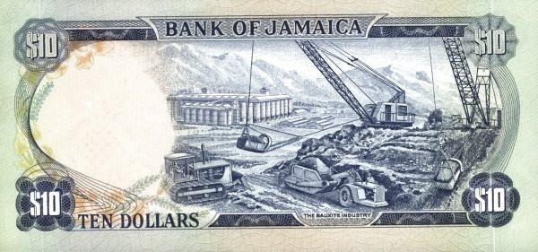 Jamaica 10 Dollars (1970 Bank of Jamaica)