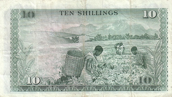 "Kenya 10 Shillings (1969-1974 Western Numerals and Text Only""Central Bank of Kenya)"""
