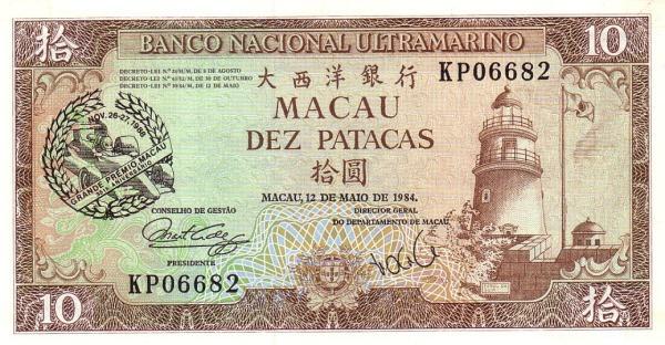 "Macau 10 Patacas (1988 35th Anniversary of Grand Prix"" Banco Nacional Ultramarino)"""