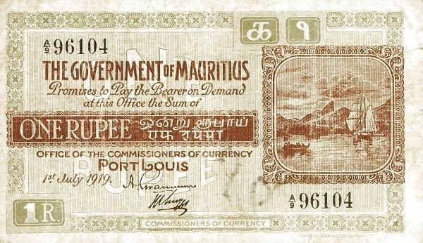 Mauritius 1 Rupee (1919-1928 Government of Mauritius)