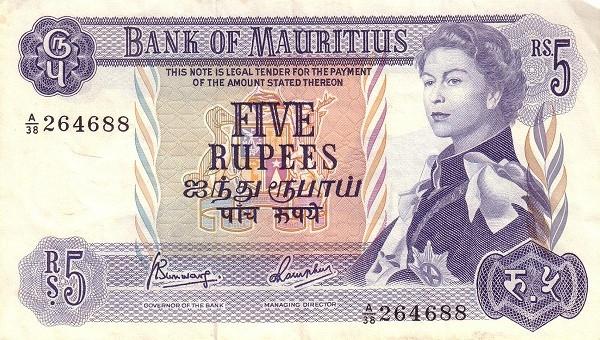 "Mauritius 5 Rupees (1967 Elizabeth II""Bank of Mauritius)"""
