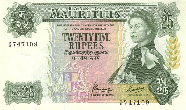 "Mauritius 25 Rupees (1967 Elizabeth II""Bank of Mauritius)"""