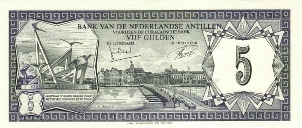 "Netherlands Antilles 5 Gulden (1967-1972 Monument"" Bank van de Nederlandse Antillen)"""