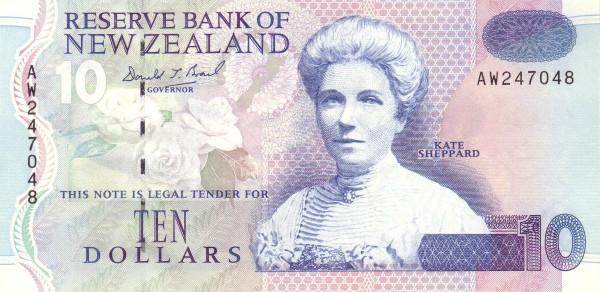 New Zealand 10 Dollars (1992-1999)
