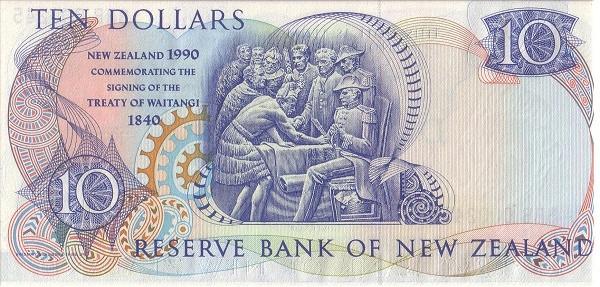 """New Zealand 10 Dollars (1990 150th Anniversary Treaty of Waitangi"""")"""""""