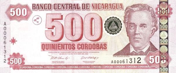 Nicaragua 500 Córdobas(2002 )