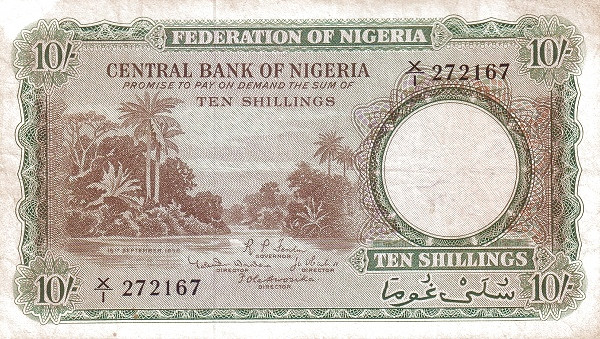 """Nigeria 10 Shillings (1958 River Scene"""" )"""""""