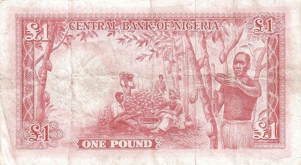 """Nigeria 1 Pound (1958 River Scene"""" )"""""""