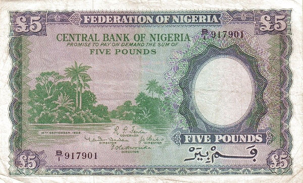 "Nigeria 5 Pounds (1958 River Scene"" )"""