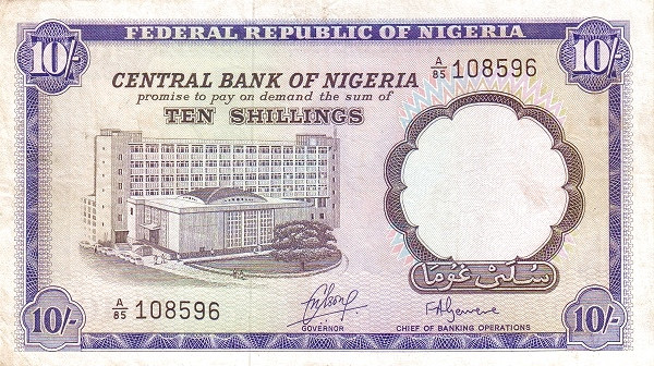 "Nigeria 10 Shillings (1968 Bank Building / 2 Signatures"")"""