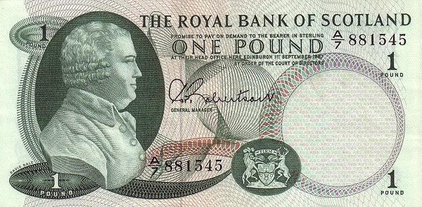 """Scotland 1 Pound (1966-1967 David Dale"""" Royal Bank of Scotland )"""""""