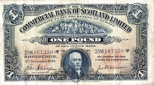 Scotland 1 Pound (1927-1944 Commercial Bank of Scotland)
