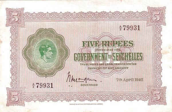 """Seychelles 5 Rupees(1943-1951 George VI"""" )"""""""