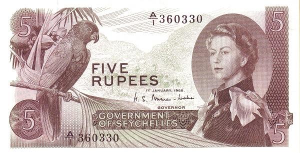"Seychelles 5 Rupees(1968-1975 Elizabeth II"" )"""