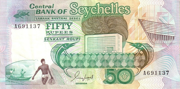 "Seychelles 50 Rupees(1989 Bank Building"" )"""