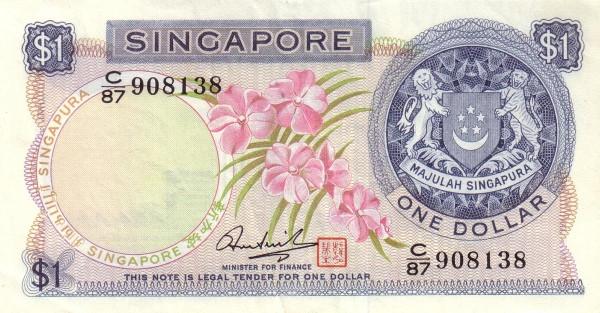 "Singapore 1 Dollar (1967-1973 Flowers"" )"""