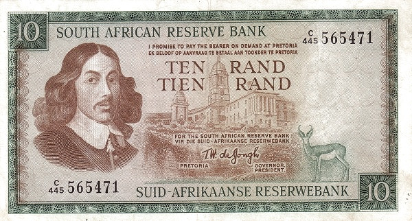 "South Africa 10 Rand (1966-1975 Van Riebeeck - Alternating English or Afrikaans on Top"")"""