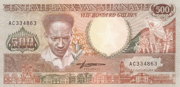 """Suriname 500 Gulden (1986-1988 Anton DeKom"""")"""""""
