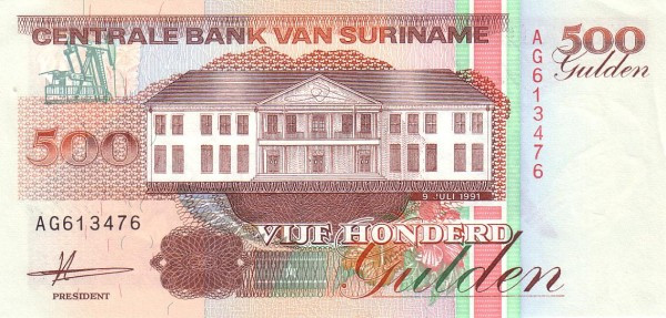 "Suriname 500 Gulden (1991-1999 Central Bank Building"")"""