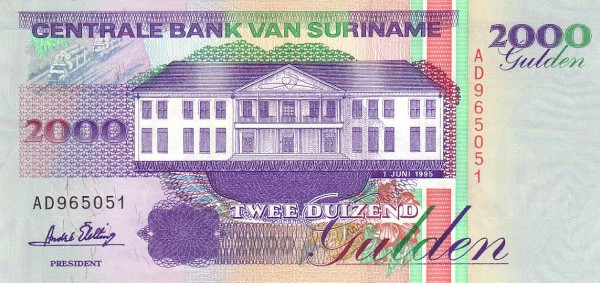 "Suriname 2000 Gulden (1991-1999 Central Bank Building"")"""