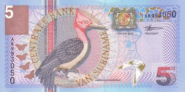 "Suriname 5 Gulden (2000 Birds"")"""