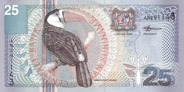 "Suriname 25 Gulden (2000 Birds"")"""