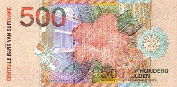 "Suriname 500 Gulden (2000 Birds"")"""