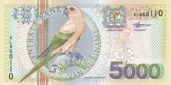 "Suriname 5000 Gulden (2000 Birds"")"""
