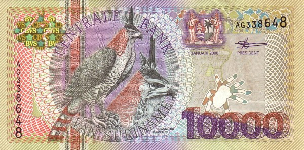 "Suriname 10000 Gulden (2000 Birds"")"""