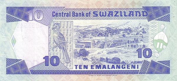 "Swaziland 10 Emalangeni(1986-1987 Mswati III Looking Front"")"""