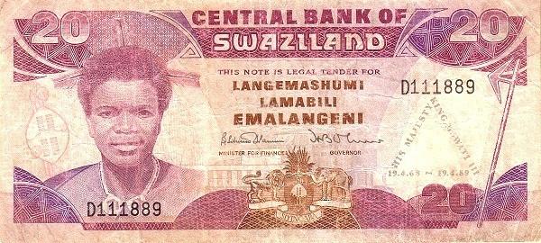 """Swaziland 20 Emalangeni(1989 21st Birthday of Mswati III"""")"""""""
