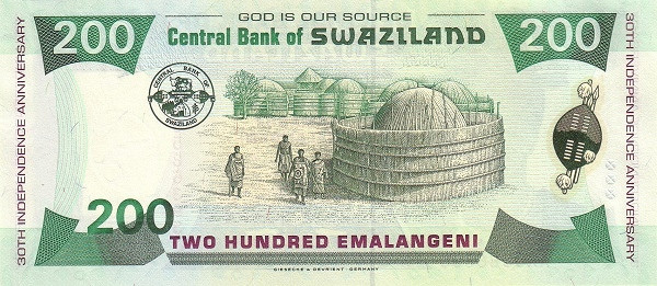 "Swaziland 200 Emalangeni(1998 30th Anniversary of Independence"")"""