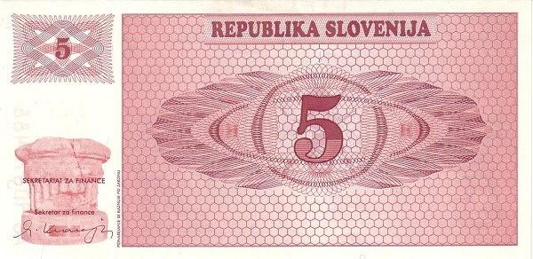 "Slovenia 5 Tolarjev (1990-1992 Triglav Mountain"" )"""