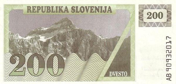 "Slovenia 200 Tolarjev (1990-1992 Triglav Mountain"" )"""