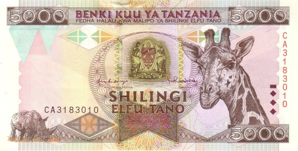 "Tanzania 5000 Shilingi (1997 Giraffe"")"""