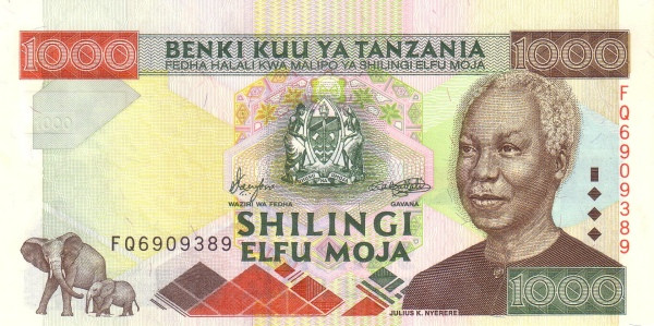 "Tanzania 1000 Shilingi (2000 President Nyerere"")"""