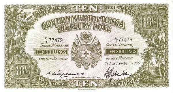 "Tonga 10 Shillings (1941-1966 Pound"")"""