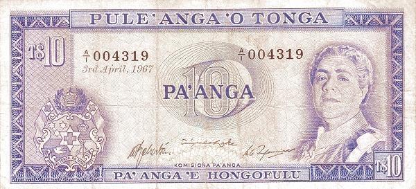 """Tonga 10 Pa'anga(1967-1973 Queen Salote"""")"""""""