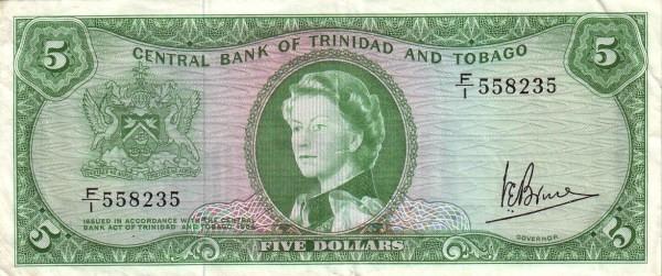 """Trinidad and Tobago 5 Dollars (1964 Elizabeth II"""")"""""""